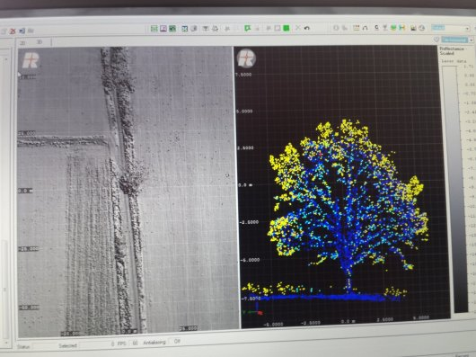 Scan data examples of RiCopter maiden flight: left: surface of agricultural area and right: cross section of tree showing first return, interior and last return signal from within the tree canopy.