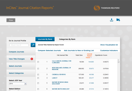 New layout Journal Citation Reports