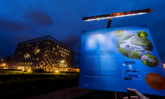 Led lights powered by plants at Atlas building, Wageningen University & Research campus.  (Photo: Wild Frontiers)