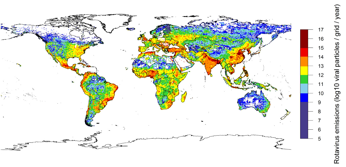 Figure 2: A map of total rotavirus emissions to surface water in log10 viral particles per grid based on data for approximately the year 2010 (Kiulia et al. 2015).