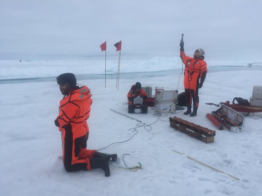Team Iceflux performing light transmission measurements using an L-arm. For comparison a light sensor is held up to the sky to measure the amount of light that is available (Photo Fokje Schaafsma).