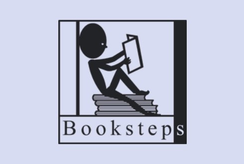 Logo Booksteps. Library organises fundraising for libraries and schools in Uganda