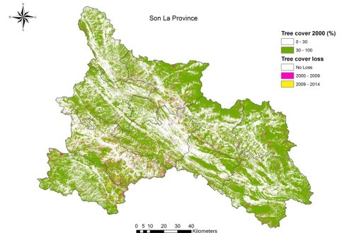 Tree cover in 2000 and tree cover loss (2000 – 2014) in Son La province, Vietnam