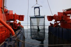 Deployment of the RMT, the Rectangular Midwater Trawl (Photo Elisa Bravo Rebolledo)