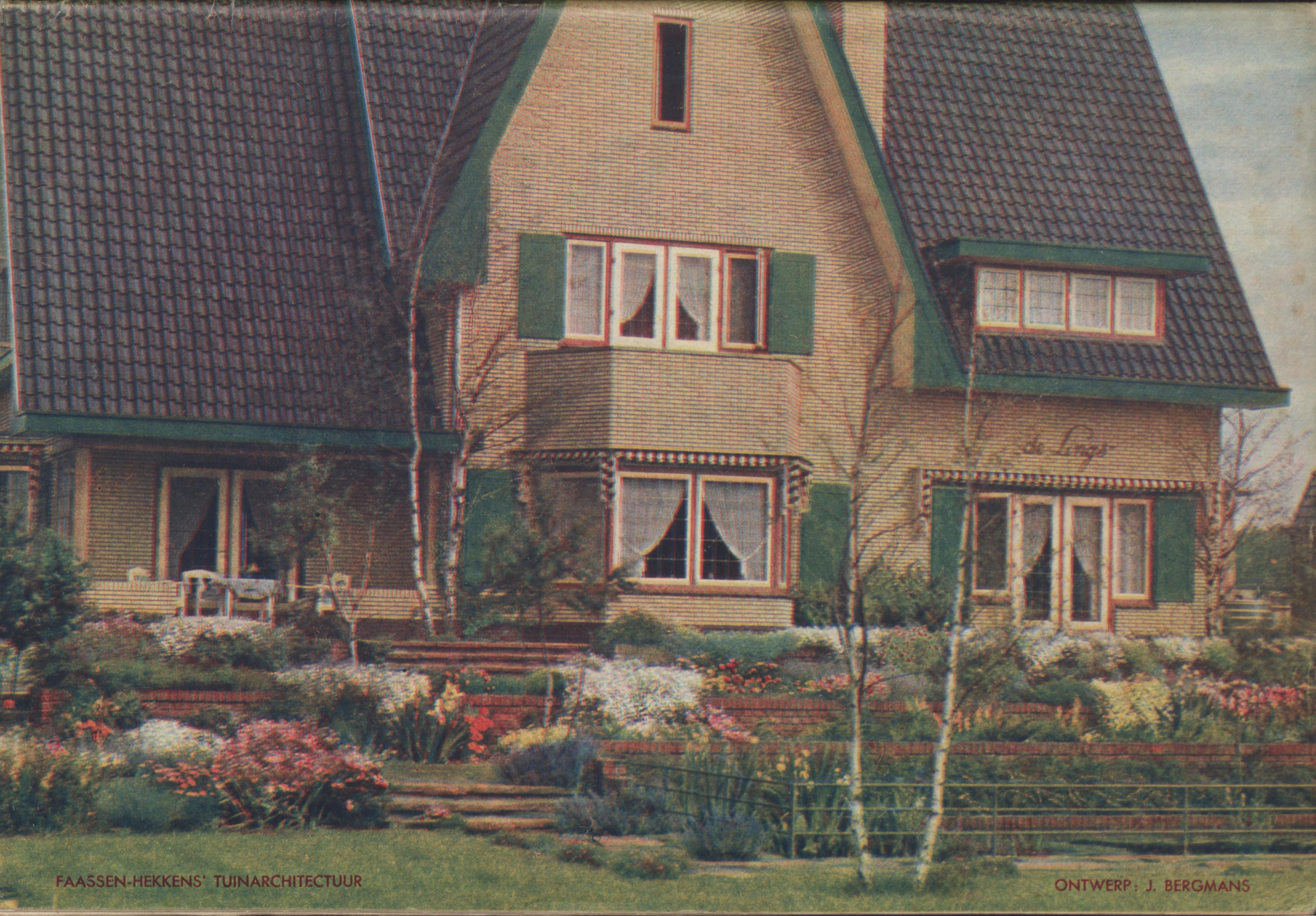 "Garden of country house ""De Lings"" in Tegelen, picture in nursery catalogue of J.F. Faassen-Hekkens, 1935-1936 (WUR Library, Special Collections, BOX E00104)"