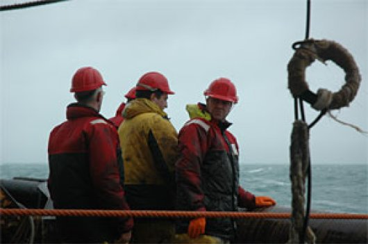 Researchers fishing on Antarctica just below the ice on krill with a specially developed net.