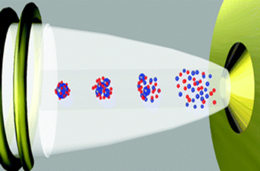 Nanoparticles, moving from left to right in the ICP plasma, and entering the MS on the right side as a cloud of ions.