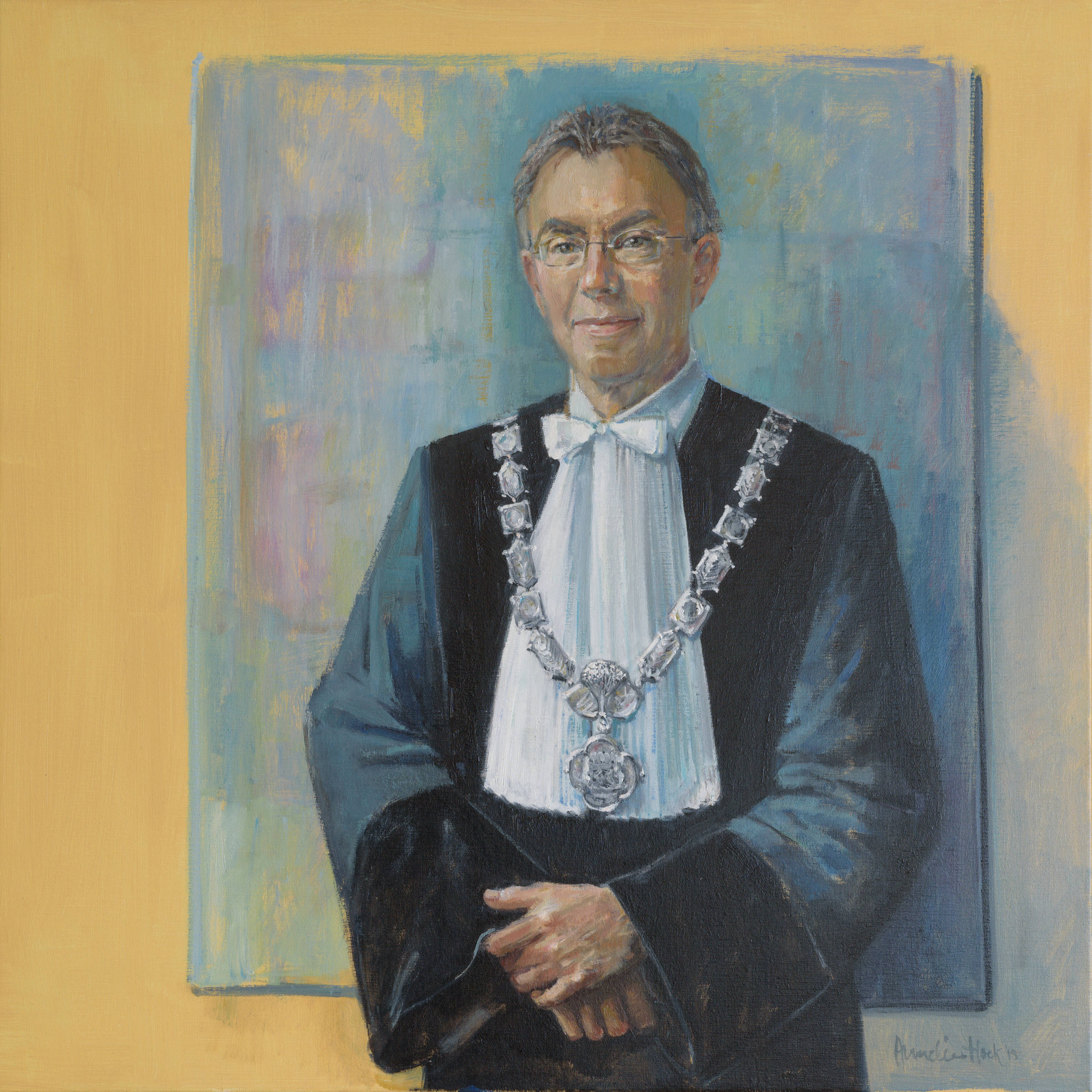 Prof. dr. ir. M.J. Kropff (1957-). Part of collection 'Paintings Professors and Rectors'