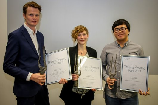 Three of the four winners: Bas Groeneveld, Annelieke Wentzel en Shengle Huang. Michiel Karrenbelt was abroad.