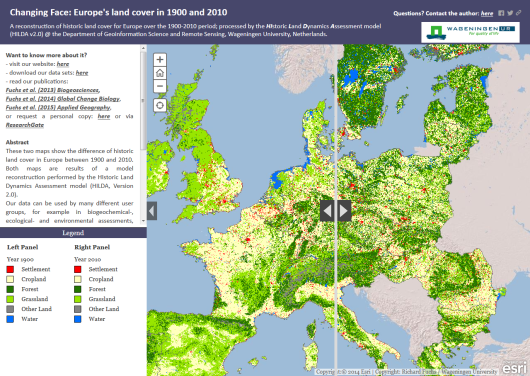 Figure: Interactive comparison of Europe's land cover between 1900 and 2010. Click on the image to start our story map.