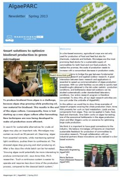 AlgaePARC Newsletter, Spring 2013