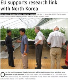 EU supports research link with North Korea. Resource - November 2009.