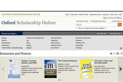 Screenshot Oxford Scolarship Online