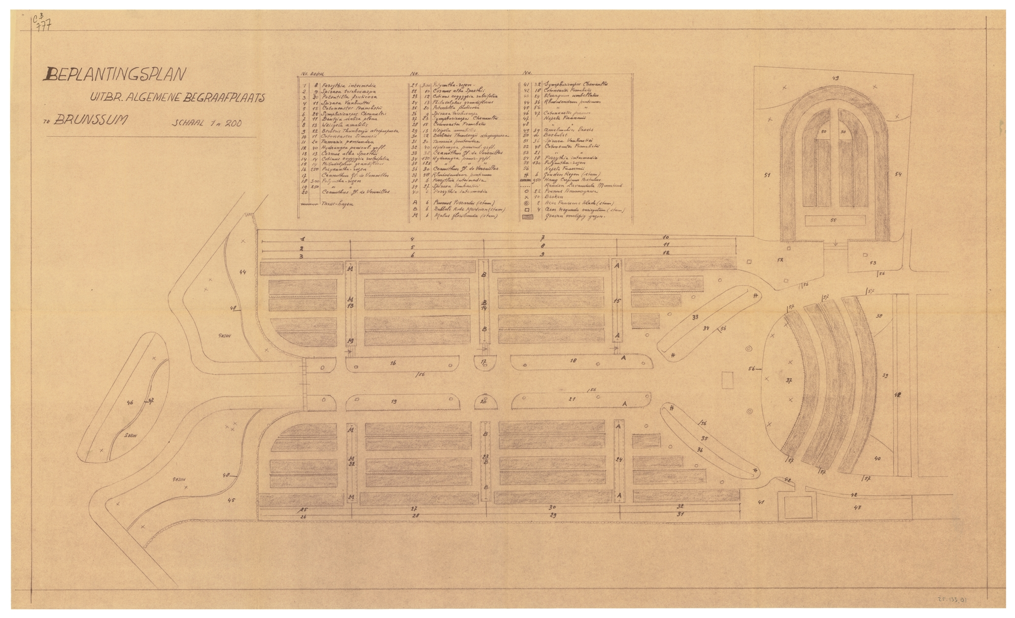 Design and planting plan for the general cemetery in Brunssum, 1954 (WUR Library, Special Collections, 25.133.01)