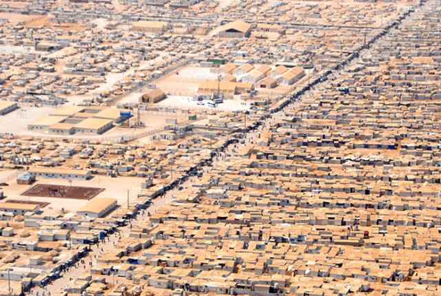 Refugee camp Za'atari from the sky.