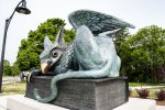 A Gryphon – The University Mascot - is a mythical creature with the head, talons and wings of an eagle and the body of a lion.