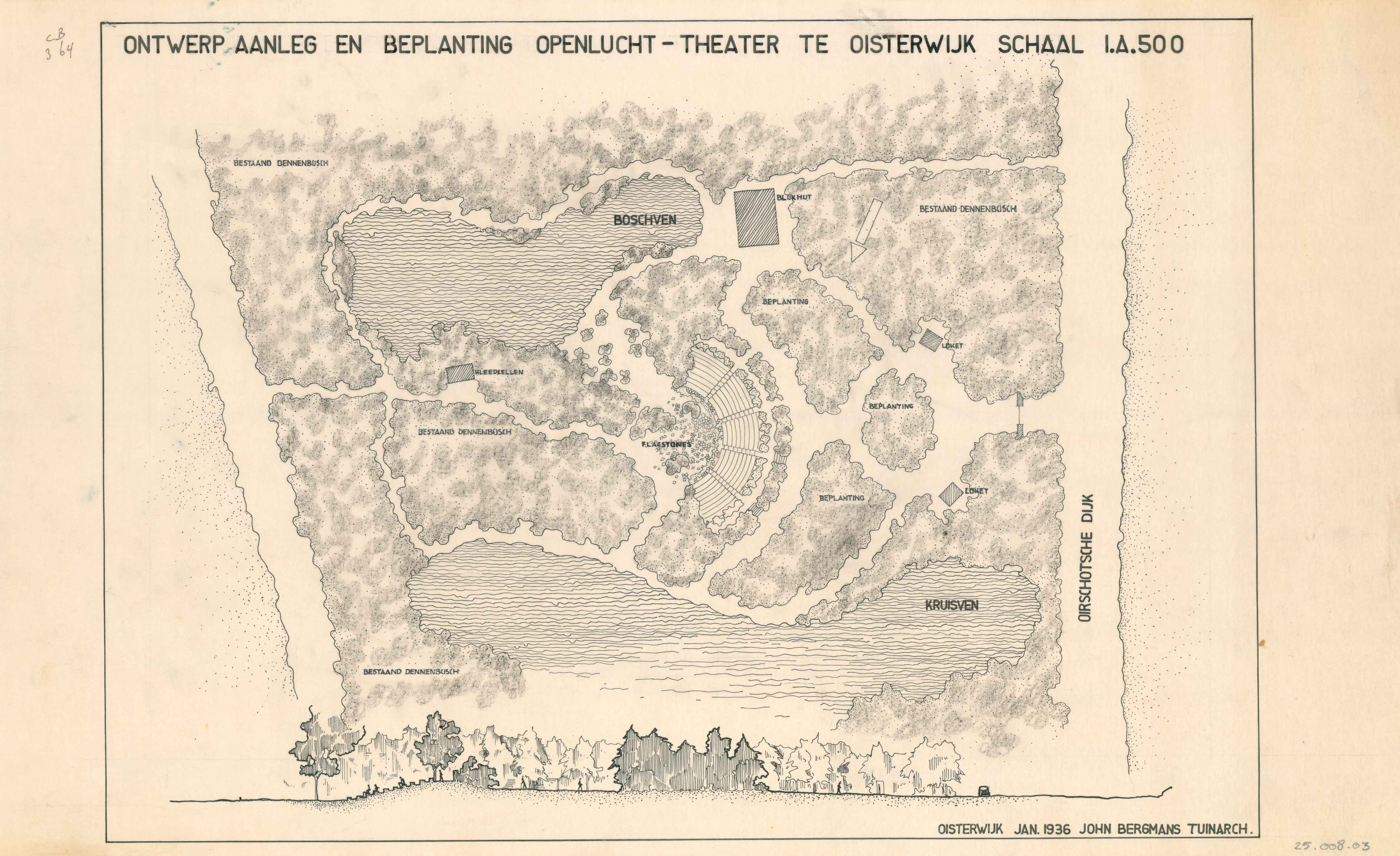 Design for the open air theatre in Oisterwijk (WUR Library, Special Collections, 25.008.03)