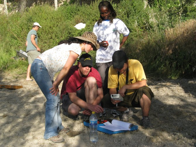 Students in the field performing a soil quality assessment