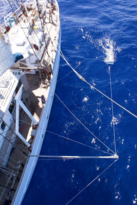 Neuston net as deployed from the SEA vessels sampling microplastics in the North Atlantic subtropical gyre (photo: Sea Education Association)