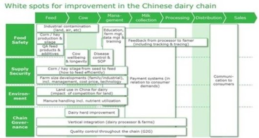 Figuur 1 – White spots for improvement in the Chinese dairy chain