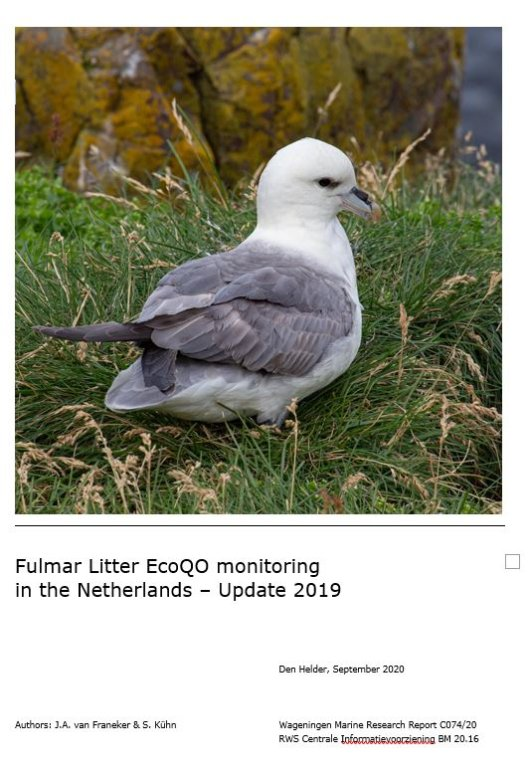 Front page of the fulmar plastic monitoring report 2019