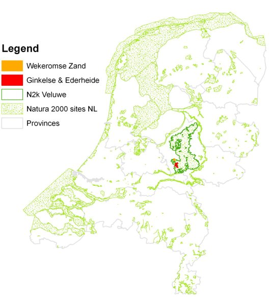 Figure 1 Location of the Dutch study area Ginkelse - Ederheide & Wekeromse Zand within Natura 2000 Veluwe in the centre of the Netherlands