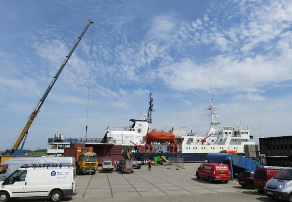 The expedition vessel is docked in the harbour to be prepared for the upcoming summer season in the Arctic.