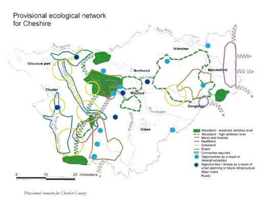 The desired scenario for developing an ecological network in Cheshire.
