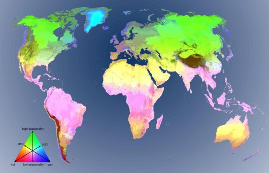 Map of the global environmental stratification, depicting 125 strata at a 30 arcsec (approximately 1km2) spatial resolution. The legend provides a visual combination of the three main climatic gradients incorporated in the clustering.
