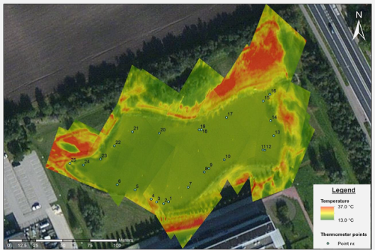 Map of temperature differences in natural pond acquired using a thermal camera on an UAV