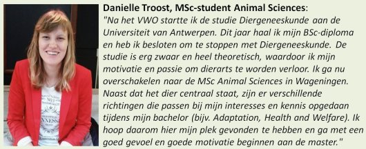 Danielle, student Animal Sciences
