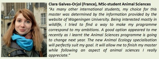 Clara, student Animal Sciences