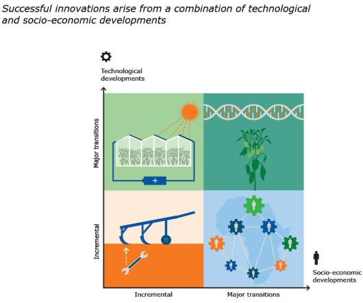 Considering that innovations may be either incremental or based on major transitions, and that socio-economics and technology need to interact to reach innovations, four quadrants arise. Some innovations call for major technological breakthroughs but easily fi t the current socio-economic conditions. New greenhouses acting as power plants, for example, require major technological breakthroughs but are easily accepted by society. Some innovations are characterised by the opposite: The major challenge is socio-economic rather than technical. In Africa, for example, a lot of technology is available, but gover nance mechanisms and institutions are required for a new green revolution. Some innovations are incremental on both axis. These innovations slowly but steadily improve the food systems, and although not always clearly visible, have a major combined effect. The most visible innovations are those that require transitions on both axis. The use of genetically modifi ed plants belongs to this latter category. Cuttingedge research increased the tool-box of plant breeders enormously, yet implementation relies on the application of and acceptance by society.