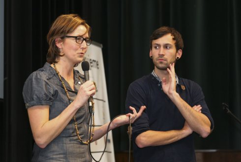 Ilja Kok and Willem Timmers during a debate