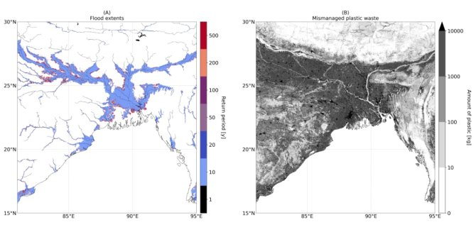 An illustration from the research, showing the flood areas (left) and the amount of unprocessed plastic waste in, among others, Bangladesh and India (right) along the Ganges.