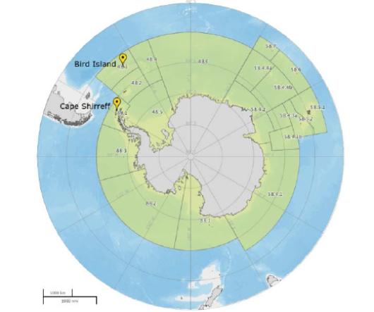 Figure 1. Overview of the Antarctic area with in green the CCAMLR regions. The sample areas are indicated in yellow symbols.