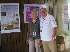 Two NABIC teachers in front of student posters (Judith Klostermann from Wageningen UR and Lasse Pettersson from the Nansen Centre in Bergen