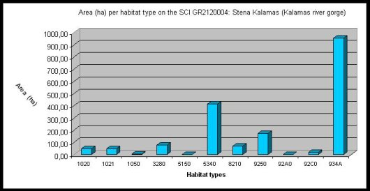 Fig. 7. Total surface area of the habitat types present in Kalamas Gorge.