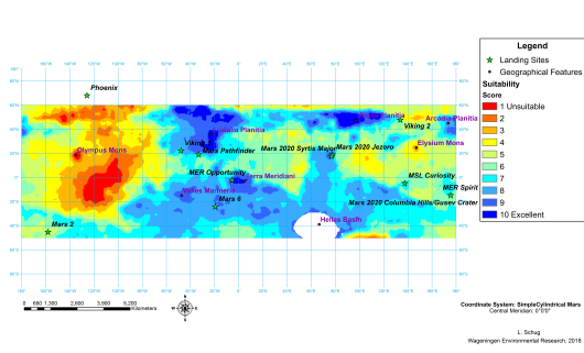 Map of the ideal landing sites on Mars from a plant perspective. Blue colours indicate high potentials, with the darkest blue as the best sites, red colours indicate less good sites with dark red as the worst. Both poles are not included, because of lack of data, as is the Hellas Basin. And the poles consist mainly of CO2 and water ice. A few landmarks on Mars are indicated with stars. Also given are former and future landing sites of Mars landers.