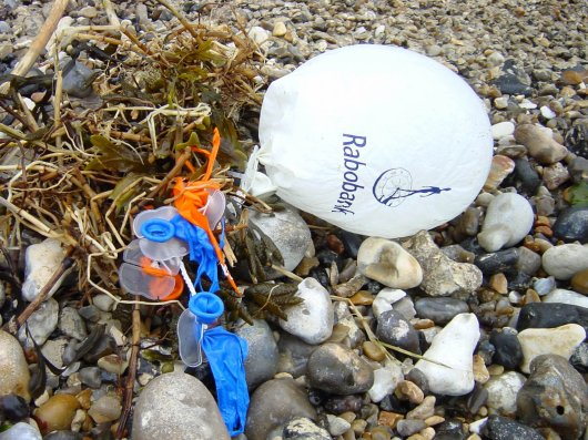 Examples of Dutch balloons, beached in Normandy following Queensday in the Netherlands in 2007.