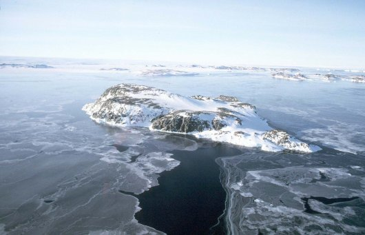 Aerial photograph of Ardery Island (66°S-110°E), home of four species of breeding fulmarine petrels, and past study area of IMARES in association with the Australian Antarctic Division.