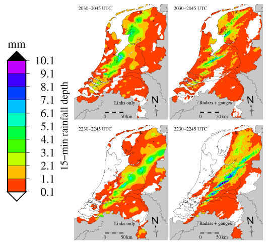 Rainfall maps made during 15-minute periods using data from radio signals (left) and rainfall-data-corrected radar data (right) (Source: KNMI)