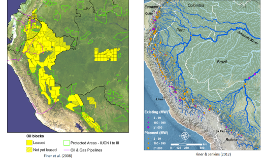 Figure 1: Examples of oil concessions foreseen in the western Amazon, over the Pastaza-Maranon large peat area, and planned hydro plants in the Andes. Source: Finer et al. (2013) and Finer & Jenkins (2012)