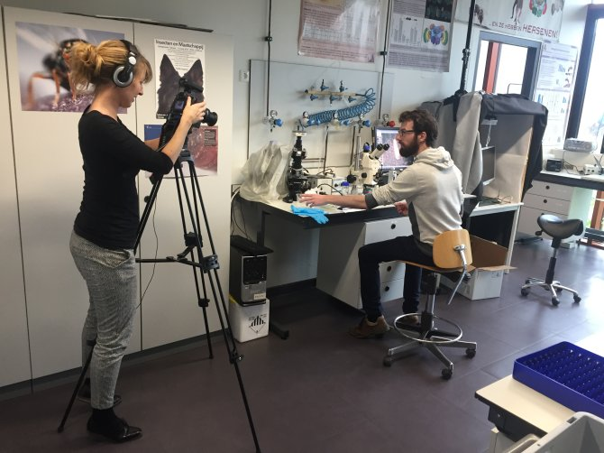 "Stein Schreven being interviewed by Berber Hania for 100 years WUR  project ""the making of Larvanity"" Click on the picture to see the movie on this interesting collaboration between artists and scientists"