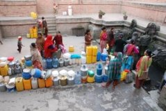 Queuing up for water in Kathmandu