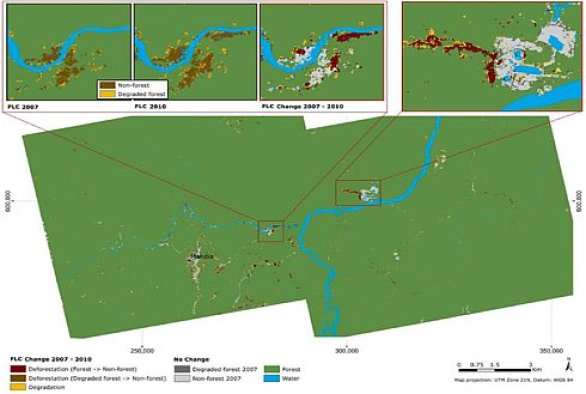 PALSAR-Landsat forest land cover change map 2007–10 of Mahdia mining district (central Guyana), including 2 detail maps (red boxes). For comparison, the PALSAR-Landsat FLC maps for 2007 and 2010 are depicted in addition with the left detailed map (Reiche et al. 2012, JSTARS)