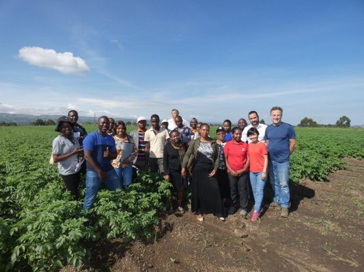 Participants and trainers at Stawisha farm after an afternoon of practical assignments