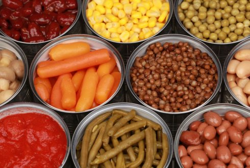Canned vegetables such as carrots, lentils, corn, peas, beans and tomatoes