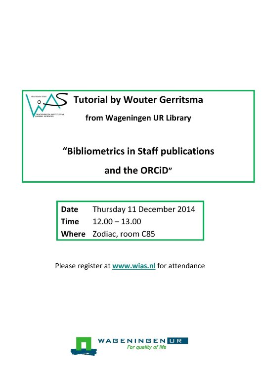 141104 Tutorial Wouter Gerrits Bibliometrics in Staff publications and the ORCiD_versie2.jpg