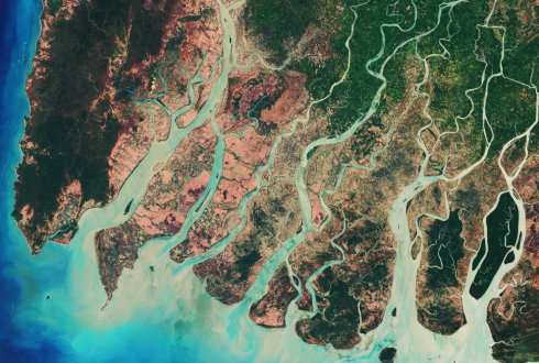 Estimating river delta change with Google Earth